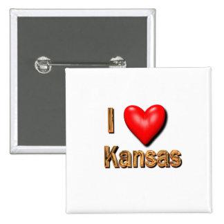 I Herz Kansas Quadratischer Button 5,1 Cm