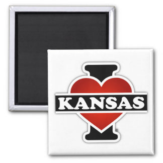 I Herz Kansas Quadratischer Magnet