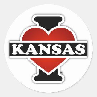 I Herz Kansas Runder Aufkleber