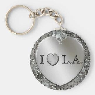 I Herz L.A. Silver Heart Keychain Standard Runder Schlüsselanhänger