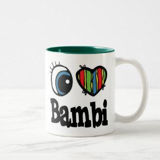 I Herz (Liebe) Bambi Zweifarbige Tasse