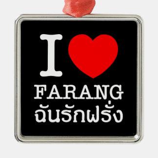 I Herz (Liebe) Farang Quadratisches Silberfarbenes Ornament