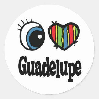 I Herz (Liebe) Guadelupe Runder Aufkleber