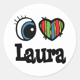 I Herz (Liebe) Laura Runder Aufkleber
