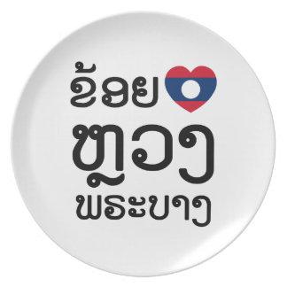 I Herz (Liebe) Luang Prabang, Laos Sprachskript Melaminteller