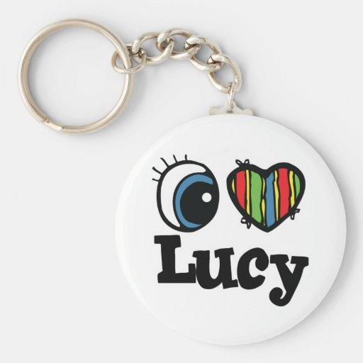 I Herz (Liebe) Lucy Standard Runder Schlüsselanhänger