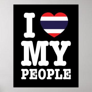 I Herz (Liebe) meine thailändischen Leute Poster