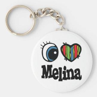 I Herz (Liebe) Melina Standard Runder Schlüsselanhänger