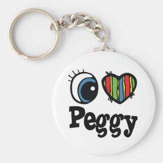 I Herz (Liebe) Peggy Standard Runder Schlüsselanhänger