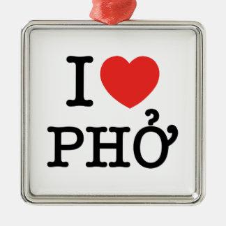 I Herz (Liebe) Pho Quadratisches Silberfarbenes Ornament