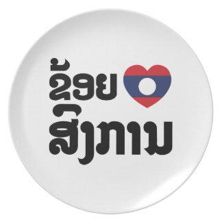 I Herz (Liebe) Songkan Laotianer-Sprache Teller