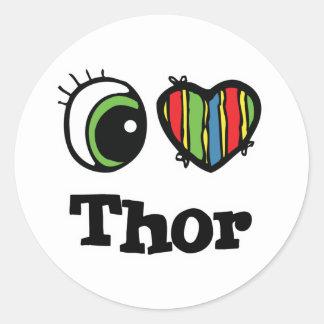 I Herz(Liebe) Thor Runder Aufkleber