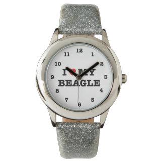 I Herz mein Beagle nummeriert Armbanduhr
