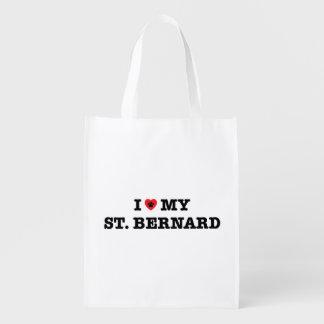 I Herz mein Bernhardiner Wiederverwendbare Einkaufstasche