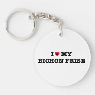 I Herz mein Bichon Frise Acryl Keychain Schlüsselanhänger