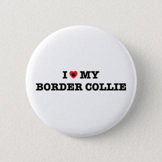 I Herz mein Border-Collie-Knopf Runder Button 5,7 Cm