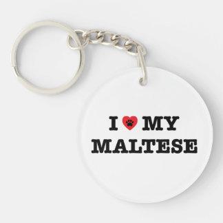 I Herz mein maltesisches Schlüsselanhänger