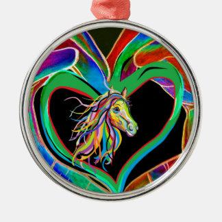 I HERZ mein PFERD! Silbernes Ornament