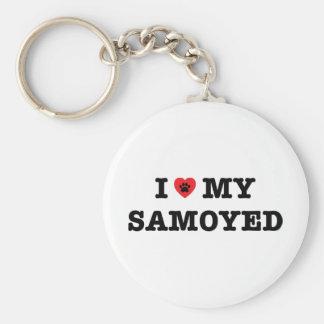 I Herz mein Samoyed-Knopf Keychain Schlüsselanhänger