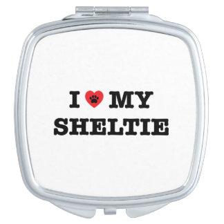 I Herz mein Sheltie kompakter Spiegel Taschenspiegel