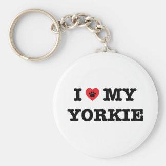 I Herz mein Yorkie Knopf Keychain Schlüsselanhänger