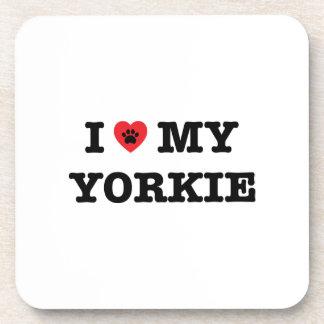 I Herz mein Yorkie PlastikUntersetzer-Set Untersetzer