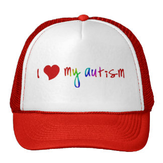 I Herz meine Autismus-Hüte Truckerkappen