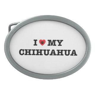 I Herz meine Chihuahua-Gürtelschnalle Ovale Gürtelschnallen
