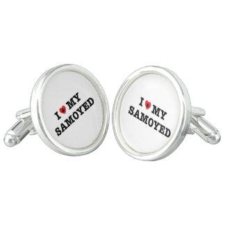 I Herz meine Samoyed-Manschettenknöpfe Manschetten Knöpfe