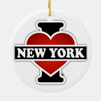 I Herz New York Rundes Keramik Ornament
