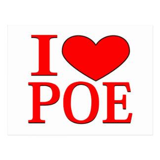 I Herz Poe Postkarte