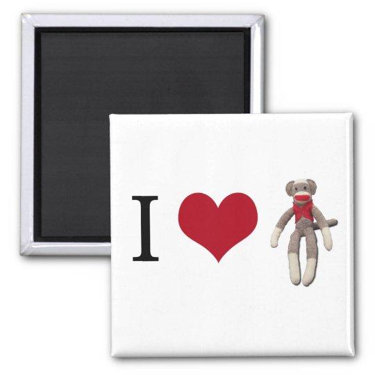 I Herz-Socken-Affe Quadratischer Magnet