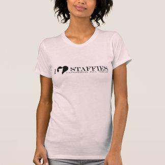 I Herz Staffies - schwarzes Logo mit Zucht-Namen T-Shirt