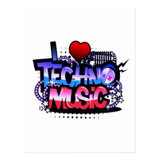 I Herz Techno Musik Postkarte