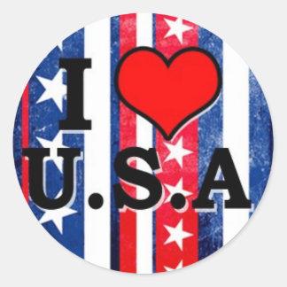 I Herz USA Runder Aufkleber
