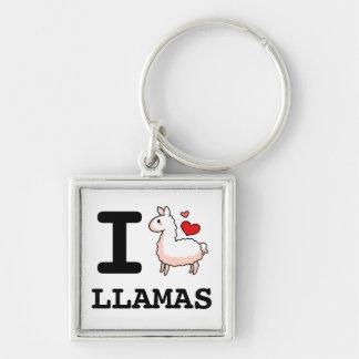 I Lama-Lamas Silberfarbener Quadratischer Schlüsselanhänger