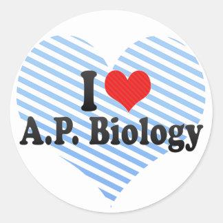 I Liebe A.P. Biology Runder Aufkleber
