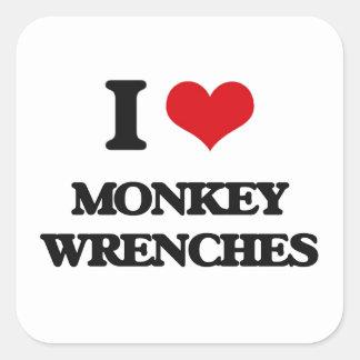 I Liebe-Affe-Schlüssel Quadratischer Aufkleber