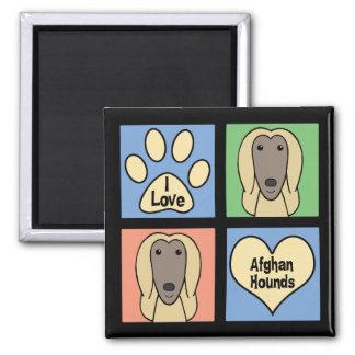 I Liebe-Afghanen Quadratischer Magnet
