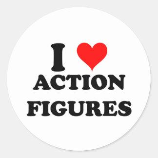 I Liebe-Aktions-Zahlen Runde Aufkleber