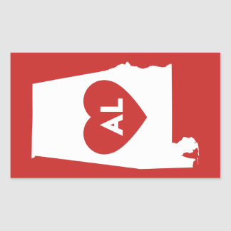 I Liebe-Alabama-Staats-Aufkleber Rechteckiger Aufkleber