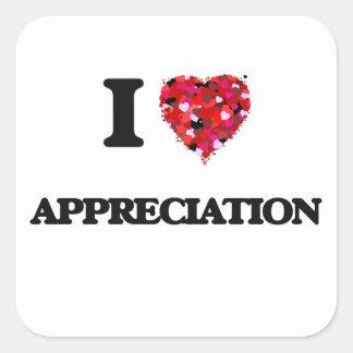 I Liebe-Anerkennung Quadratischer Aufkleber