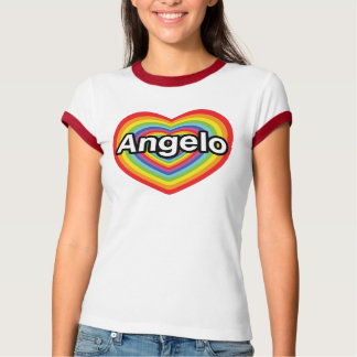 I Liebe Angelo, Regenbogenherz T-Shirt