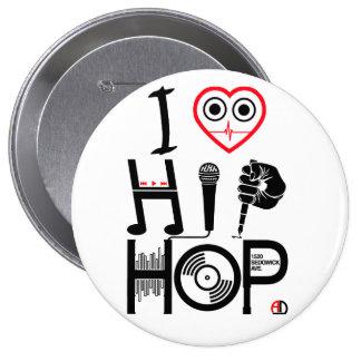I Liebe Angesagt-Hopfen - Musik-Entwurf, Abzeichen Runder Button 10,2 Cm