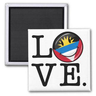 I Liebe Antigua und lächelnde Flagge Barbuda Quadratischer Magnet