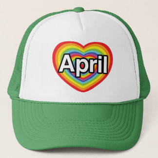 I Liebe April, Regenbogenherz Truckerkappe