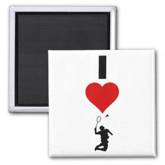 I Liebe-Badminton (vertikal) Quadratischer Magnet