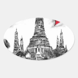 I Liebe Bangkok Ovaler Aufkleber