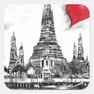 I Liebe Bangkok Quadratischer Aufkleber