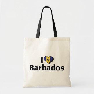 I Liebe-Barbados-Flagge Tragetasche